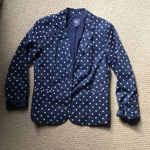 Gap navy and white polka dot blazer